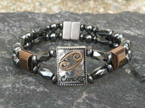 Mens Womens Cancer Magnetic Hematite Bracelet Anklet 2 Row Zodiac June21-July 22