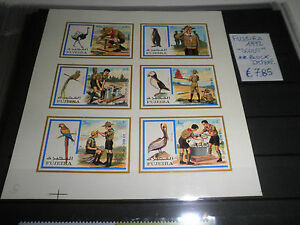 FRANCOBOLLI-FUJEIRA-1972-034-SCOUT-UCCELLI-DIVISE-034-MNH-BLOCK-IMPERF-CAT-A