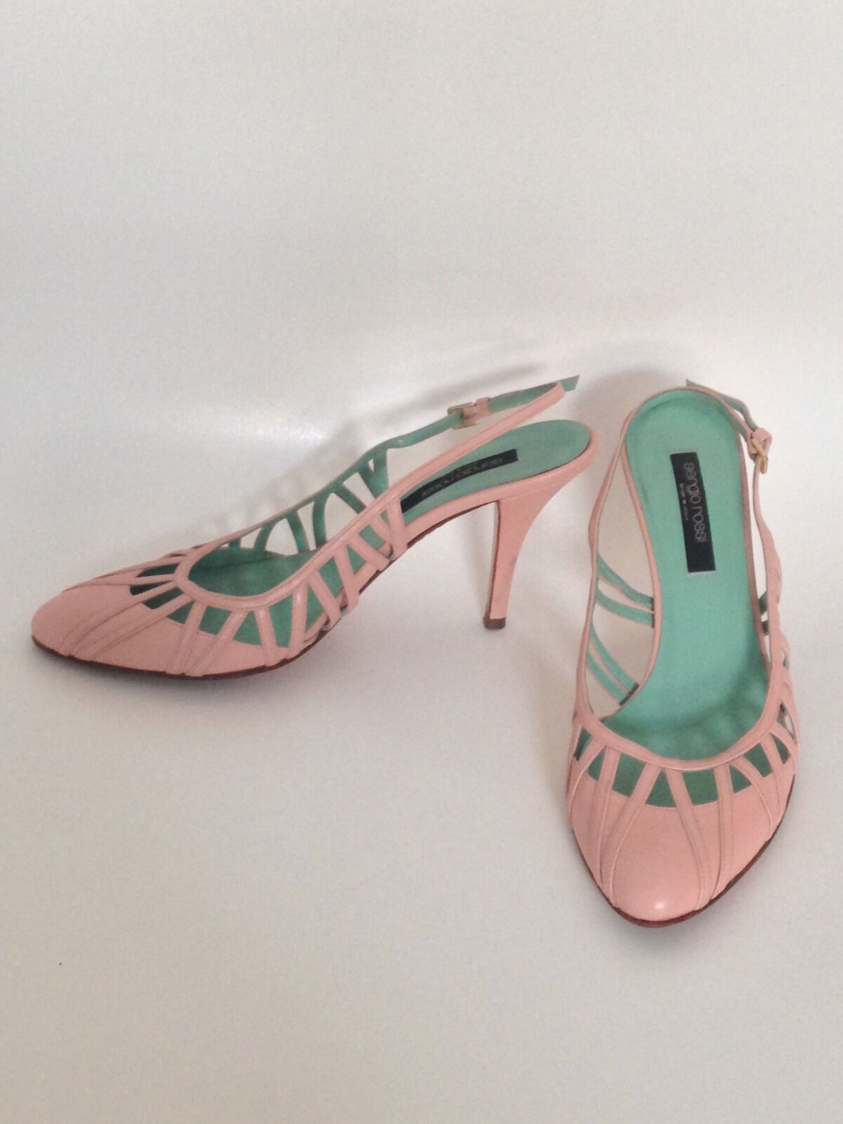 SERGIO ROSSI ITALY Heels Slingback Stiletto Heels ITALY Größe 36.5 Pink Leder 40s style 045bc0