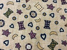 PATCHWORK THREAD SPOOLS & BUTTON COTTON FABRIC  1 3/8 YARDS