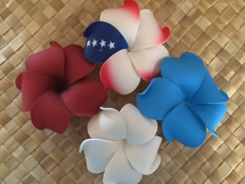 HAWAIIAN PLUMERIA FLOWER FOAM HAIR CLIPS Patriotic Colors Red White /& Blue