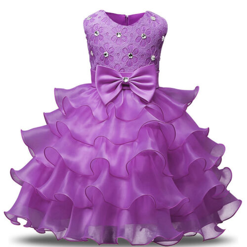 Girl/'s Bridesmaid Dress Baby Flower Kid Party Rose Bow Wedding Dresses Princess