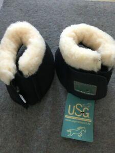 Caldene Sheepskin Over Reach Boots BLACK /& WHITE ALL SIZES