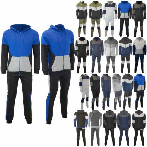 Mens Sweatshirt Bottoms Hooded Contrast Panel Long Sleeve Jogging Tracksuit Set