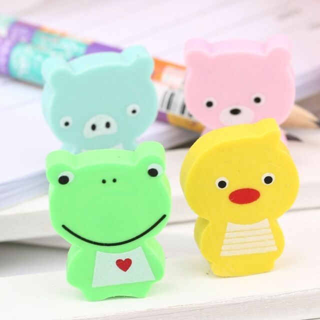 4Pcs/Lot 2D Animal Pencil Eraser Home Office Kid Children Student Stationery Toy