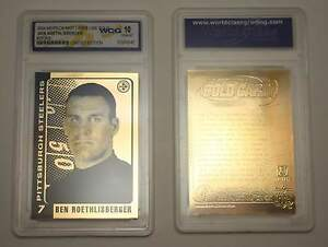 2004-Ben-Roethlisberger-Pittsburgh-Steelers-ROOKIE-Gold-Card-Graded-GEM-MINT-10