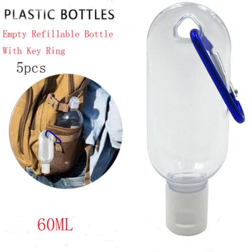 5//10Pcs 30//60ml Empty Refillable Bottle With Key Ring Travel Transparent Bottles