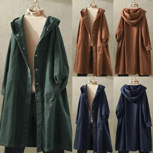 Mode-Femme-Manteau-Veste-Loisir-Simple-Ample-Manche-Longue-Haut-a-capuche-Plus