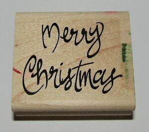 Merry Christmas In Cursive.Details About Merry Christmas Rubber Stamp Stampin Up Cursive Wood Mounted Retired