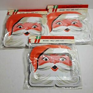 3 NOS Packs of 8 Vintage Holt Howard Santa Christmas Styrofoam Party Plates