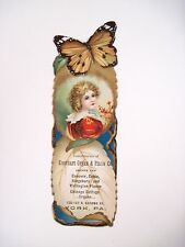 "RARE Vintage Ad Bookmark ""Everhart Organ & Piano Co."" w/ Gorgeous Butterfly *"