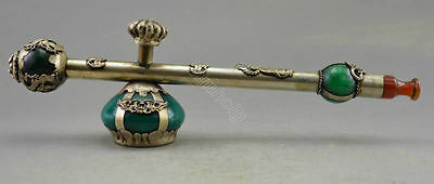 Old Handwork Green Jade inlay Tibet Silver Dragon Pipe paperweight Collectible