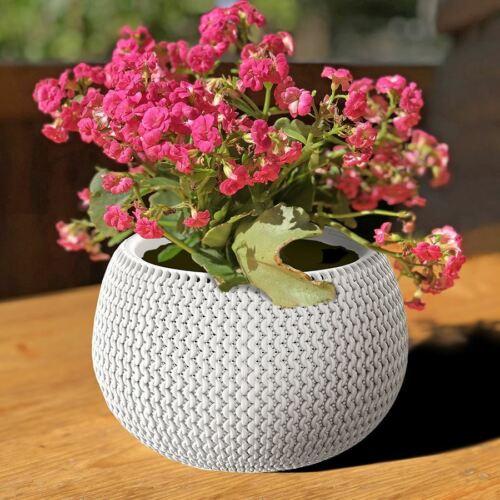 Blumentopf weiß Strickmuster Pflanztopf Pflanzkübel Blumenkübel Übertopf Garten