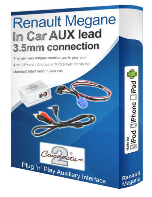 Renault Megane AUX lead, iPod iPhone MP3 player, Renault aux adaptor interface
