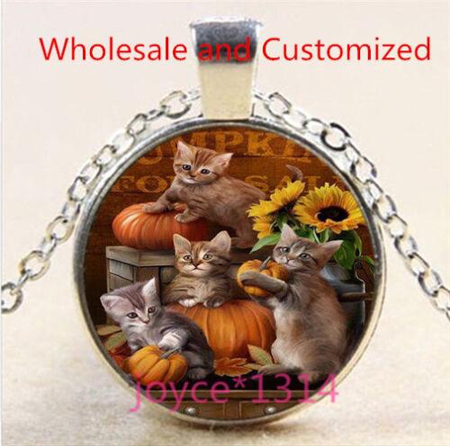 Vintage Cute Cat Cabochon Tibetan silver Glass Chain Pendant Necklace #4885