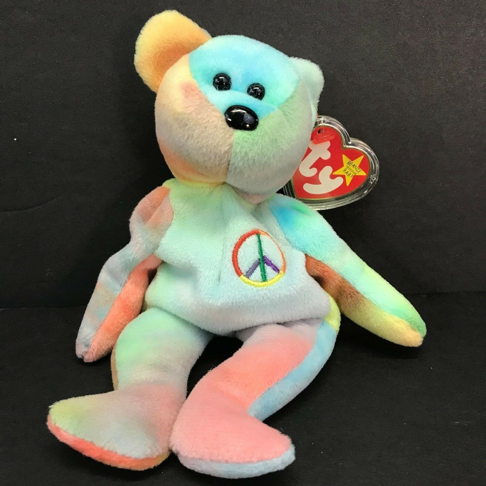 Peace (1996) Ty Beanie Baby Bear PE Authentic Rare Retired Many Tag Errors