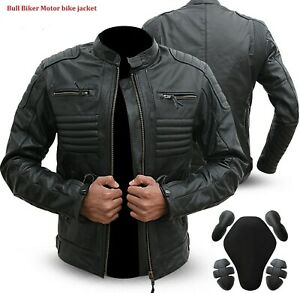 Leather-Motorbike-Motorcycle-Jacket-Black-Biker-With-CE-Armour-Black-L