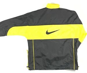 42484bb825f0 Vintage NIKE Full Zip Windbreaker Jacket Black White Yellow Swoosh ...