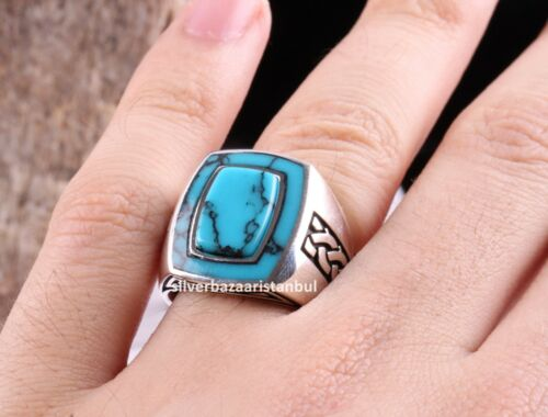 New Turquoise Stone Turkish Jewelry 925 Sterling Silver Mens Ring ALL SİZE USA