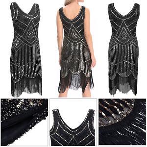 Gatsby-Flapper-1920s-Beaded-Vintage-Fringe-Sequin-Sleeveless-Women-Party-Dress