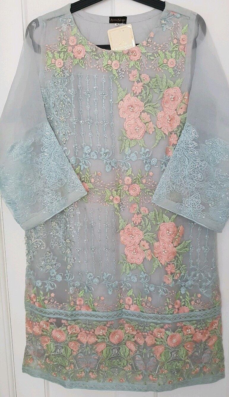 New Womens AGHA NOOR 3Pcs medium embroidered Shirt trouser khaadi sana sapphire