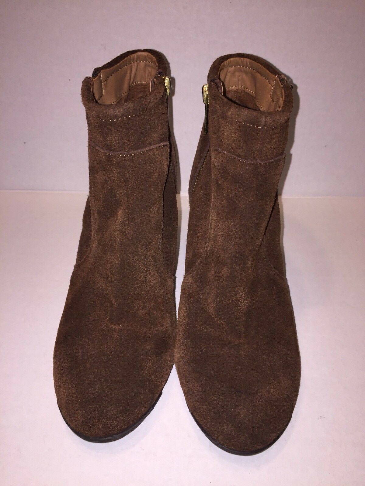"""Kenneth Cole Reaction Tell Lilly Pad Brown Suede Wedge Ankle Boots Sz. 8M 3.5"""""""