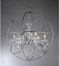 Chrome Orb Chandelier Modern 22 Light Fixture Crystal Round Globe Saturns Ring