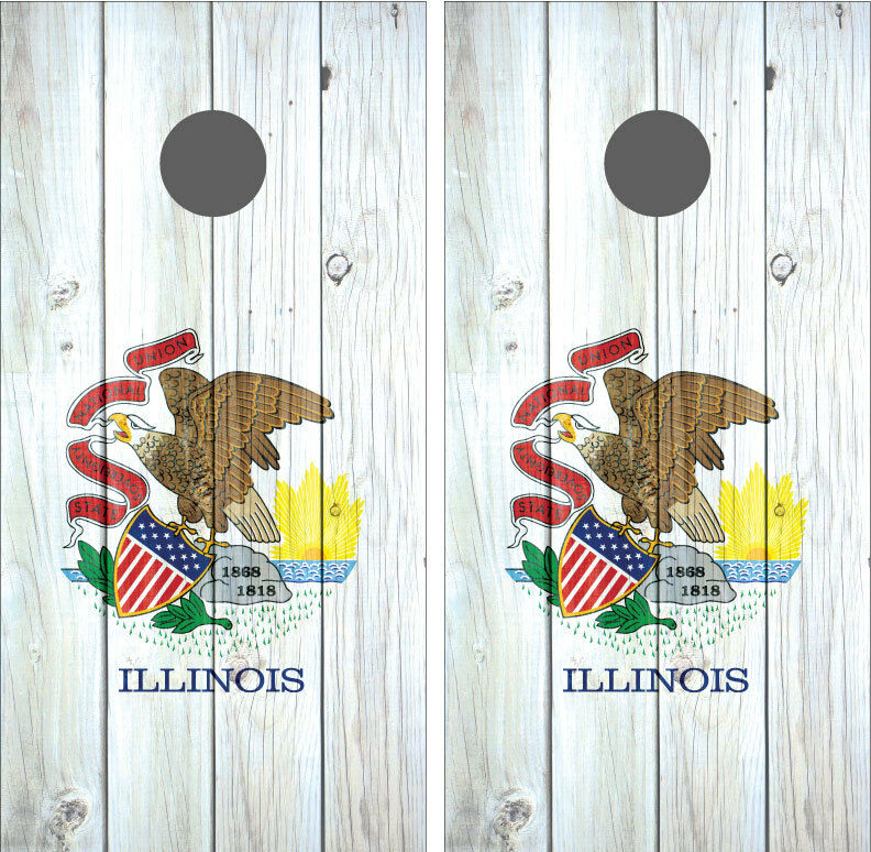 Illinois State Flag  Distressed Wood Vintage Cornhole Board Decal Wrap Wraps  best-selling