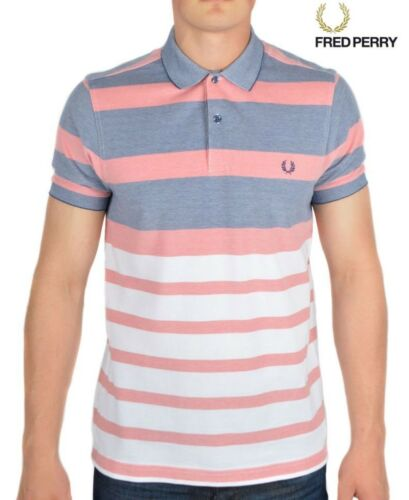 Fred perry stripe oxford pique polo shirt homme à manches courtes top M7202-224