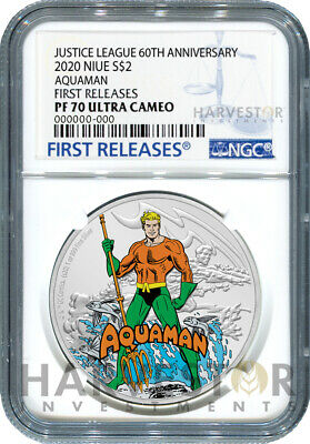 NGC PF70 FIRST RELEASE SILVER COIN AQUAMAN JUSTICE LEAGUE 60TH ANNIVERSARY