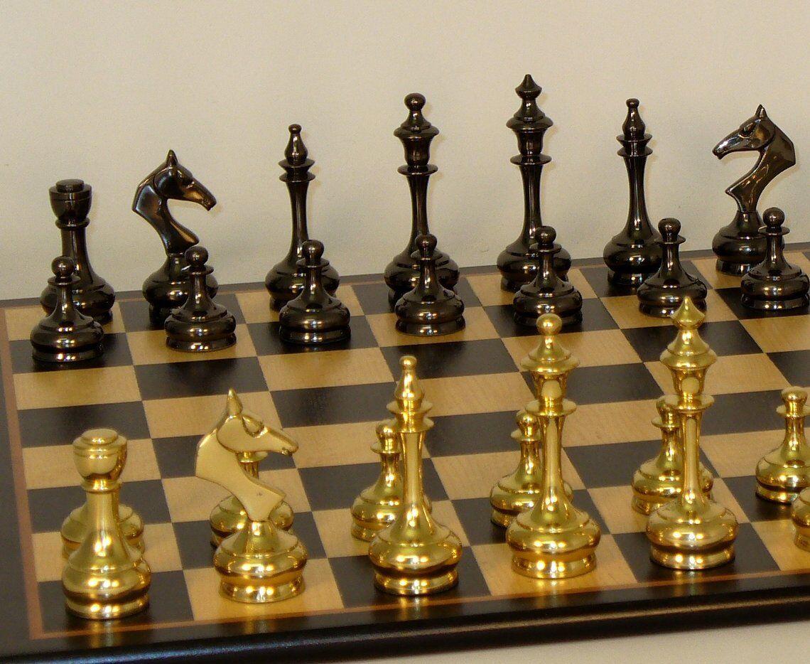 Juego de ajedrez de latón sólido delgado-Birdseye Maple Tablero 17 1 4  - K = 3 1 4 (37bss-bbm) WW