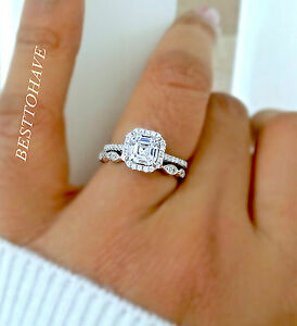 925 Silver Ladies 2 piece Asscher Cut Halo Wedding Engagement Ring