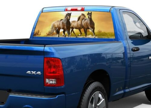 Horses in prairie Rear Window Decal Sticker Pick-up Truck SUV Car