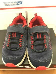 Boys-Saucony-Wind-Shield-12W-Tennis-Shoe-Sneaker-Running-Athletic-Blue-Red-Navy