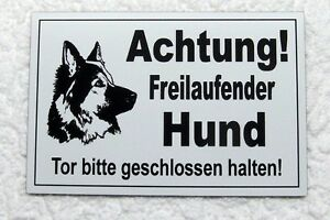 Freilaufender Hund,hundeschild,schäferhund,gravurschild,12 X 8 Cm,weiß Verkaufspreis Außen- & Türdekoration 100% QualitäT Achtung Haustierbedarf