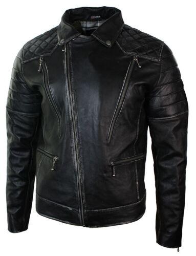 Corta Punk Uomo Da In Zip Laterale Vera Biker Pelle Giacca Con Nera Vintage dEq75d
