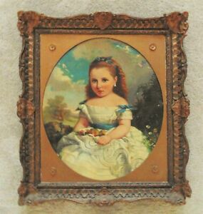 19th c. Portrait Oil Painting Girl Child Antique Victorian American Folk Art