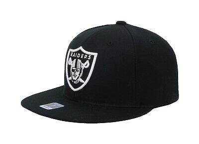 418b89a9 Reebok Apparel NFL Oakland Raiders Black White Fitted Flat Brim Cap Adult  Hat 7