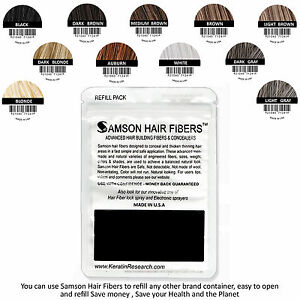 SAMSON-Hair-Building-Fibers-DARK-BROWN-200gr-Concealer-made-USA-refills-amp-more