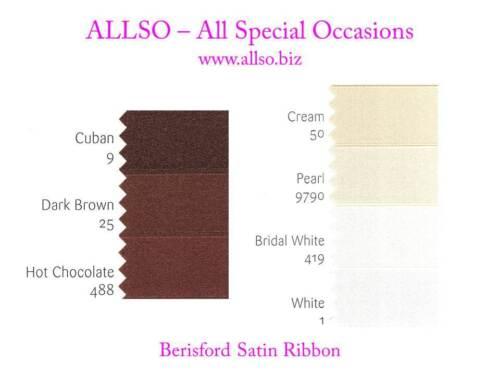 BEAUTIFUL BERISFORDS Double Sided SATIN Ribbon 20m 1m 3m,10m 3mm