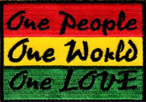 ONE PEOPLE ONE WORLD ONE LOVE Jamacia Rasta Reggae Iron On Patch