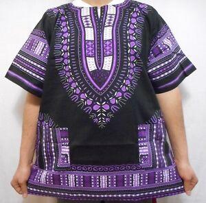 African Tshirt Men Women Dashiki Hippie boho Mexican Blouse Black Purple poncho
