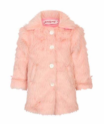 Filles Fourrure Laine polaire Veste Manteau D/'Hiver Fashion Rouge Magenta Rose Bébé Manteau XX