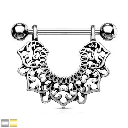 Silver or Gold PAIR Filigree Flower Design Dangle Nipple Rings Shields