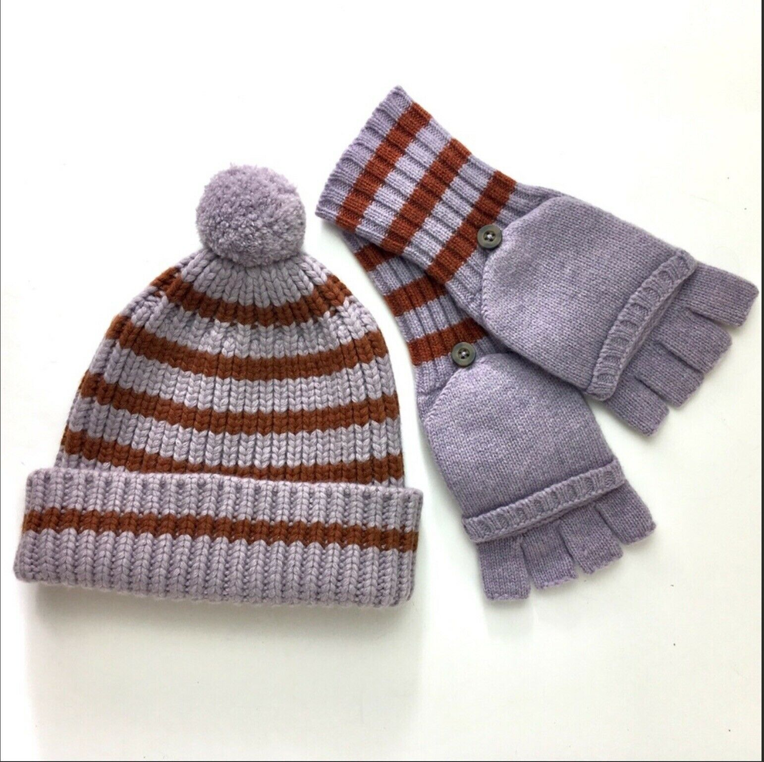 Madewell striped hat and convertible gloves NWT
