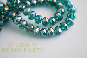500pcs-3x4mm-Faceted-Rondelle-Crystal-Glass-Loose-Spacer-Beads-Peacock-Green-AB