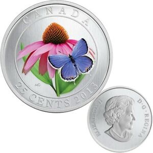 2013-Canada-25c-Coloured-Coin-Purple-Coneflower-amp-Eastern-Tailed-Blue-Butterfly