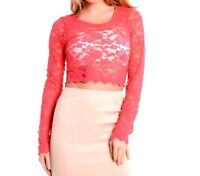 SEXY WOMEN LADIES LONG SLEEVE FLORAL LACE TOP CROP TOPS SIZE 6,8/10,12/14