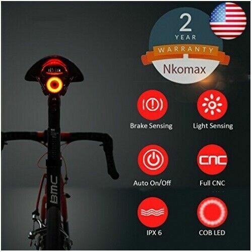 Smart Bike Tail Light Ultra Bright Bike Light Rechargeable Auto On//Off Plastic F