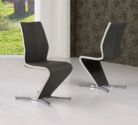 4x Grey Z Dining Chairs With White Stripe, Grey Faux Leather Dining Chairs